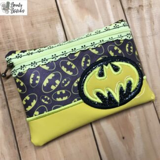 batman zipper bag in the hoop embroidery file by spunky stitches