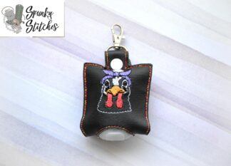 Chicken with bandana hand sanitizer holder key fob in the hoop embroidery file by spunky stitches