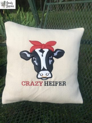crazy heifer applique embroidery file by spunky stitches