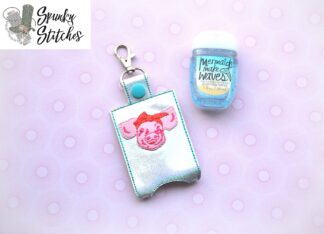 Piggy with bandana Sanitizier holder key fob in the hoop embroidery file by spunky stitches