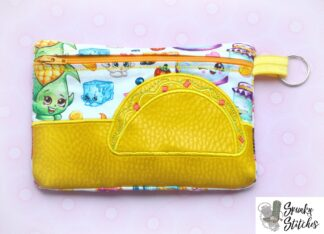 Taco Zipper bag in the hoop embroidery file by spunky stitches