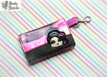wavy hair doll mini wallet in the hoop embroidery design by spunky stitches