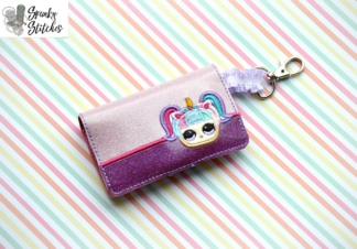 lol unicorn doll mini wallet key fob in the hoop embroidery design by spunky stitches