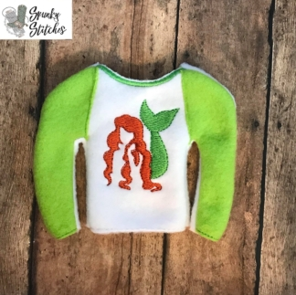 ariel elf shirt in the hoop embroidery design by spunky stitches