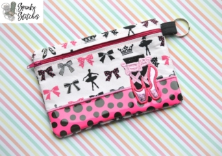 ballet zipper bag embroidery design by spunky stitches