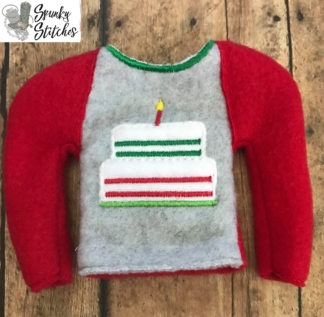 Birthday Cake Elf shirt in the hoop embroidery file by spunkystitches