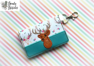 buck mini wallet key fob in the hoop embroidery file by spunkystitches