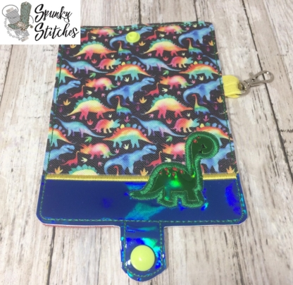 dino mini wallet key fob in the hoop embroidery design by spunky stitches