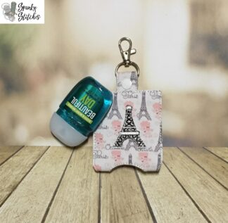 eiffel tower sanitizer key fob in the hoop embroidery design by spunky stitches