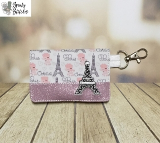 eiffel tower mini wallet key fob in the hoop embroidery design by spunky stitches
