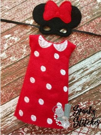 Elf Minnie Costume in the hoop embroidery deisgn by spunky stitches