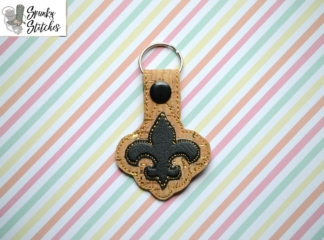 Fleur de lis key fob in the hoop embroidery design by spunky stitches