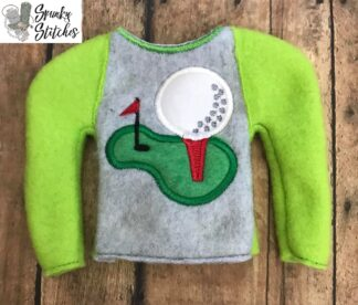 Golf Elf shirt in the hoop embroidery file by spunkystitches