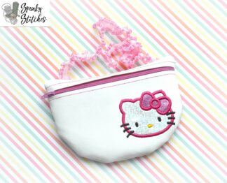 kitty clutch zipper bag in the hoop embroidery design by spunky stitches
