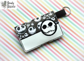 jack mini wallet key fob in the hoop embroidery file by spunkystitches