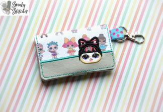 Lol Doll Bun Bow nini wallet Key fob in the hoop embroidery file by spunkystitches