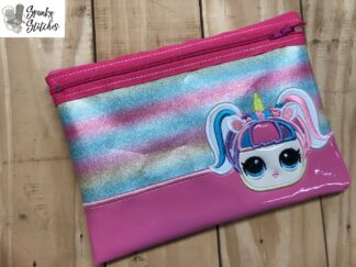 LOL Doll Unicorn zipper bag in the hoop embroidery design by spunky stitches