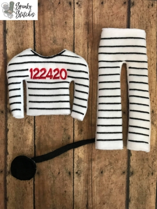 elf prisoner costume in the hoop embroidery design by spunky stitches