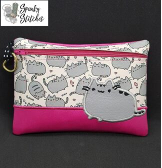 pusheen zipper bag in the hoop embroidery file by spunkystitches
