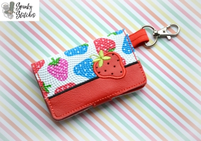 strawberry mini wallet key fob embroidery design by spunky stitches