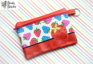 strawberry zipper bag embroidery design by spunky stitches