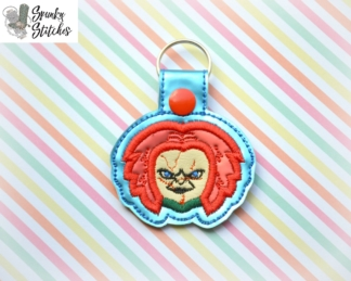 chucky key fob in the hoop embroidery file by spunky stitches