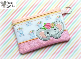 elephant with flowers zipper bag in the hoop embroidery file by spunky stitches