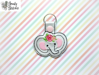 elephant with flowers key fob in the hoop embroidery file by spunky stitches