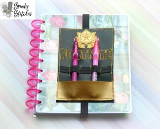 fortnite planner band pencil pocket in the hoop embroidery file by spunky stitches