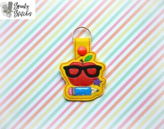 nerdy apple key fob in the hoop embroidery file by spunky stitches