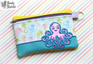 octopus zipper bag in the hoop embroidery file by spunky stitches