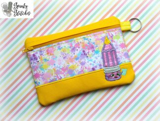 penny pencil bag in the hoop embroidery file by spunky stitches