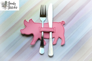 pig silverware holder in the hoop embroidery file by spunky stitches