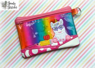 nerdy unicorn zipper bag in the hoop embroidery file by spunky stitches