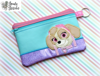 skye zipper bag in the hoop embroidery file by spunky stitches