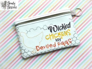 wicked chickens zipper bag in the hoop embroidery file by spunky stitches