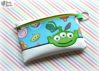 Alien zipper bag in the hoop embroidery file by spunky stitches