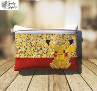 pikachu zipper bag in the hoop embroidery file by spunky stitches