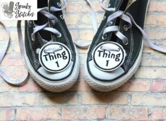 thing 1 and 2 shoe tags in the hoop embroidery file by spunky stitches