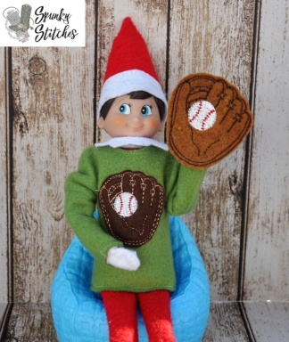 Baseball elf shirt in the hoop embroidery file by spunky stitches