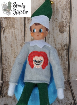 chucky elf shirt in the hoop embroidery file by spunky stitches