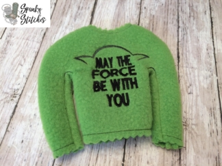 Elf Force be with you shirt in the hoop embroidery file by spunky stitches