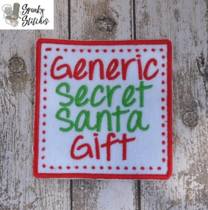 generic secret santa gift mug rug in the hoop embroidery file by spunky stitches