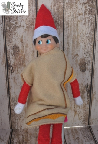 grilled cheese elf costume in the hoop embroidery file by spunky stitches