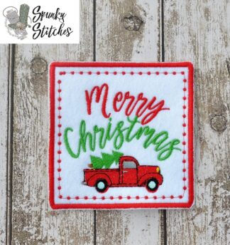 Merry Xmas Truck Mug Rug in the hoop embroidery file by spunky stitches