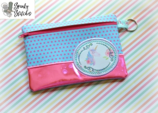 Monogram circle Zipper Bag in the hoop embroidery file by spunky stitches