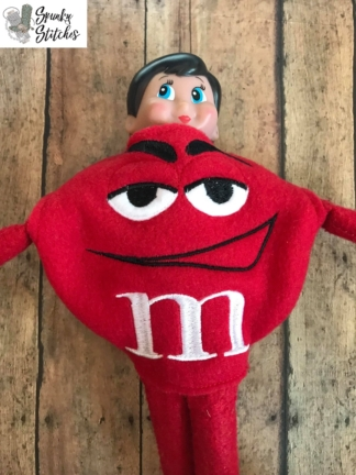 m&m elf costume in the hoop embroidery file by spunky stitches