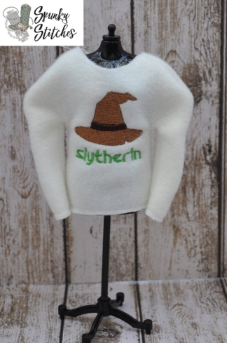slytherin elf shirt in the hoop embroidery file by spunky stitches
