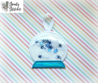 Snow Globe Ornament in the hoop embroidery file by spunky stitches