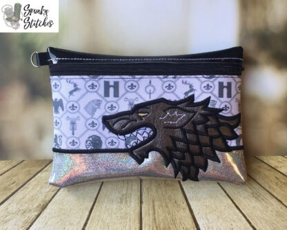 Stark Half Zipper Bag in the hoop embroidery file by spunky stitches
